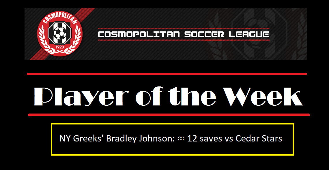 NY Greeks keeper Johnson wins Round 18 Player of the Week with save-fest versus Cedar Stars