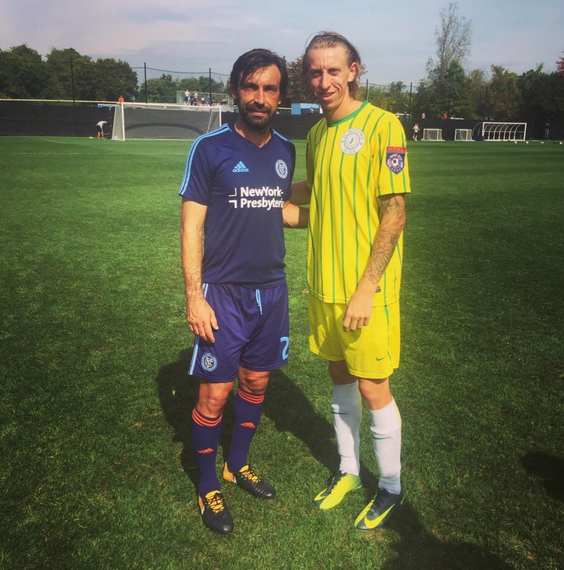 Katona poses with football legend Andrea Pirlo following a casual friendly between FC Motown and New York City FC (Credit: Chris Katona)